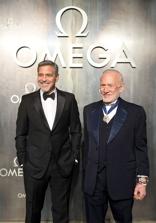 LONDON, ENGLAND - APRIL 26: George Clooney and Buzz Aldrin attend the OMEGA 'Lost In Space' dinner to celebrate the 60th anniversary of the OMEGA Speedmaster, which has been worn by every piloted NASA mission since 1965, at Tate Modern on April 26, 2017 in London, England. (Photo by Mike Marsland/Mike Marsland/Getty Images for OMEGA) *** Local Caption *** George Clooney; Buzz Aldrin